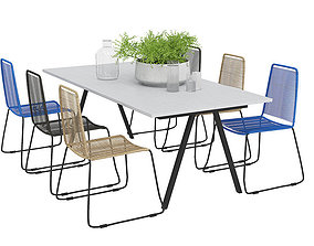 3D Foggia Outdoor Table with six Joy Rotting Chairs