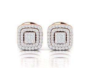 Women Earrings 3dm stl render detail solitaire delicate