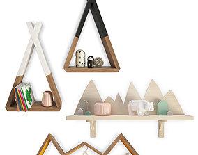 3D model Trendy Teepee Shelves For Kids