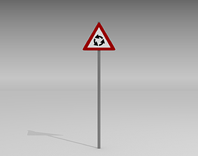 Roundabout ahead sign 3D