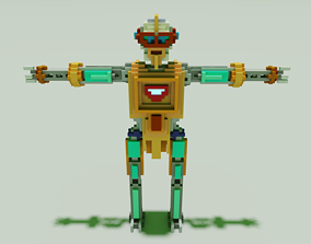 Robot Voxel Model 3D low-poly