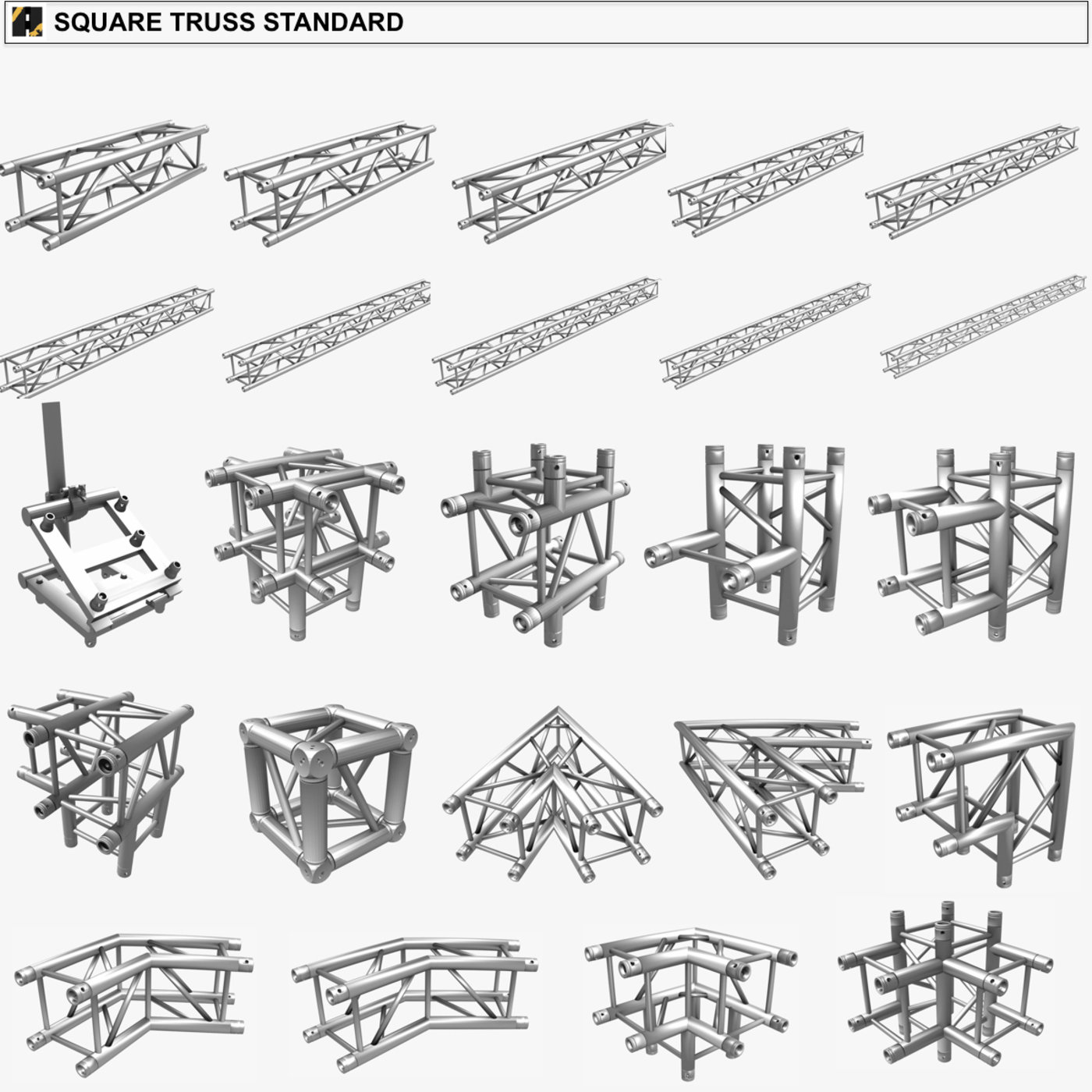 Stage Lighting Truss Giant Collection (149 unique modular objects)