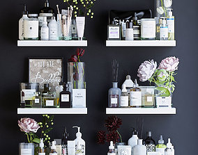 Shelves with decor and bathroom cosmetics 3D