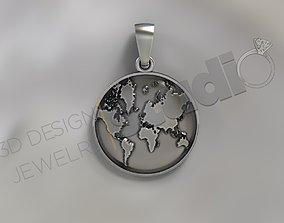 Earth pendant 3d model desgn