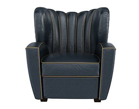 3D model Zarina Black Leather Armchair by Cesare Cassina 1