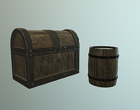 Medieval Barrel and Closed chest Low Poly to Game 3D model