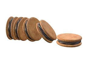 Sandwich cookies with chocolate fill 3D model
