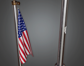 Outdoor Flagpole - CLA - PBR Game Ready 3D model