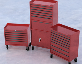 Garage tool box 3 piece 3D model