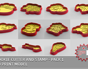 3D model Cookie cutter and stamp - pack 1