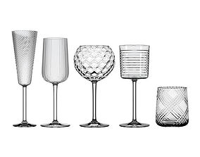 3D model Glassware set