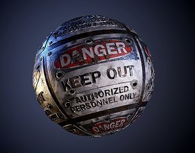 Metal Danger keep out sign Seamless PBR Texture 3D model