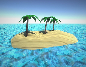 3D asset Little Island with Palm Tree Low-Poly