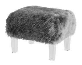 Inspired Home Faux Fur Wayne Ottoman in Grey 3D