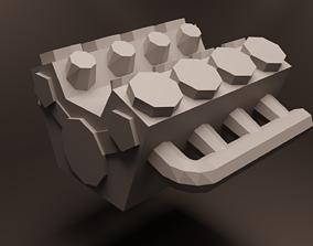 Low Poly V8 Engine 3D model