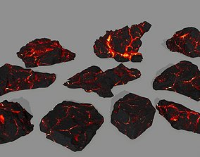 lava rock 3D model game-ready cliff