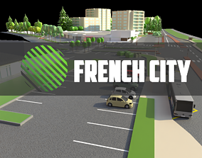 3D asset low poly french city