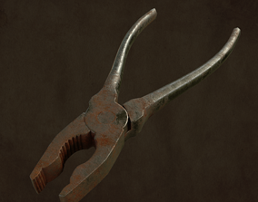 3D asset Low poly of old pliers game ready