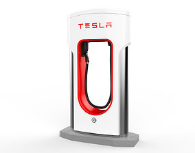 3D Tesla Electric Vehicle Charging Station