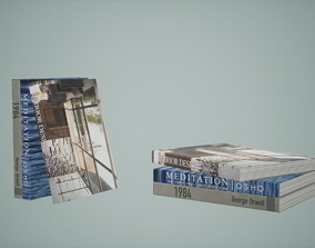 Books Low Poly Game Ready 3D model