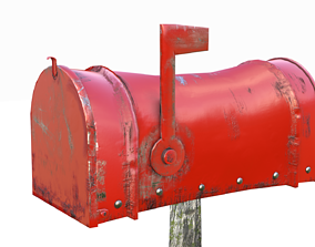 3D model Old red Mailbox Lowpoly