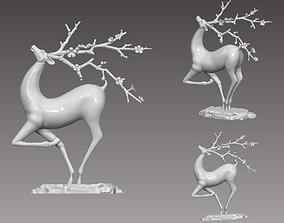 3D printable model sculpture or deer