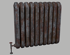 3D asset Old rusted radiator heater