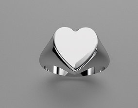 signet 3D print model heart ring