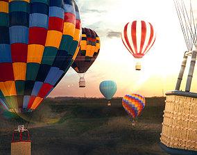 Hot Air Balloon 3D Model rigged