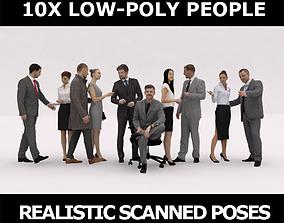 3D asset 10x LOW POLY BUSINESS PEOPLE VOL01 CROWD