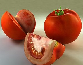 3D asset Tomato with slice