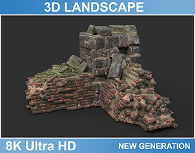 Low poly Ruin Medieval Construction 09 2020 3D asset