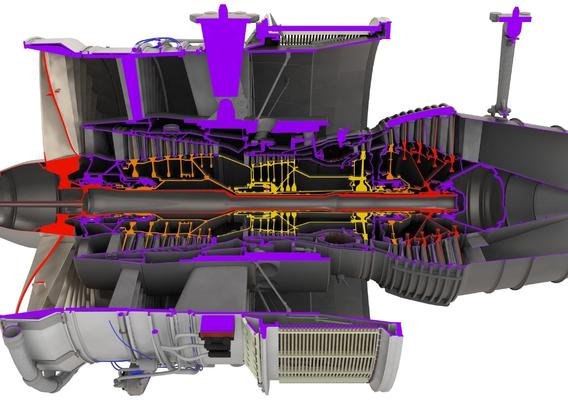 D-18T turbofan engine cutaway