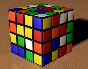 jigsaw 3D model 4x4 Scrambled Rubiks Cube