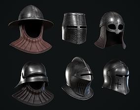 6 Lowpoly Medieval Helmets Pack 3D asset