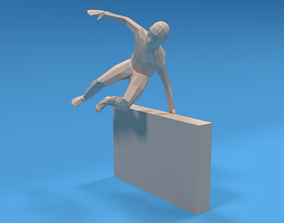 3D model Low Poly Kid Jumping a Wall