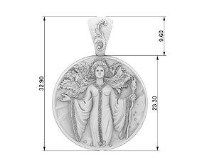virgin zodiak pendant jewelry 3d model
