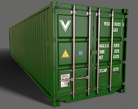 3D asset PBR 40 ft Shipping Cargo Container - Green