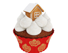 3D Cupcake with gingerbread house