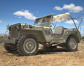 Jeep Willys Damaged 3D