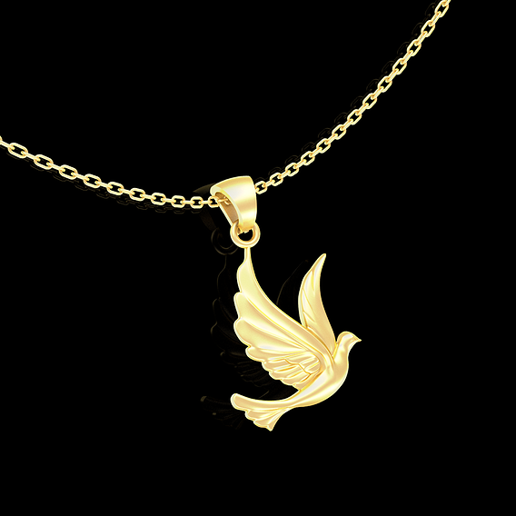 Bird Pendant jewelry Gold 3D print model