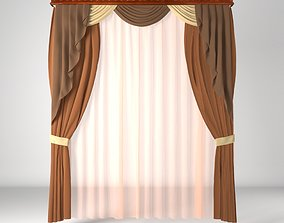 Curtain 3D high poly for architectural visualization 1