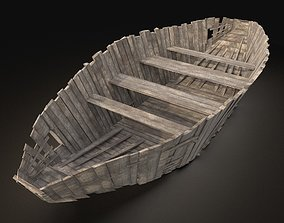 3D asset AAA NEXT GEN Old Ruined Destroyed Boat Ship 2