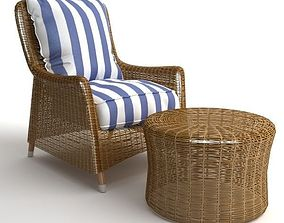 3D model Wicker Armchair and Ottoman