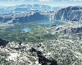 The lakes valley in Vue 3D model