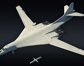 3D model Tu-160 supersonic bomber with Kh-55 missile