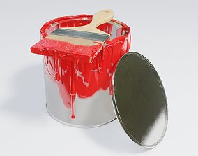 dripping paint and paint brush 3D model