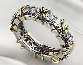 Tiffanys Style Gold X Ring 3D print model