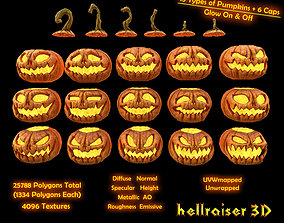 3D asset Pumpkins Set - PBR - Textured