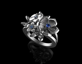 3D printable model flowers ring with gemstones
